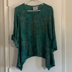 Red Threads sz Lrg Teal colored blouse 100% Rayon